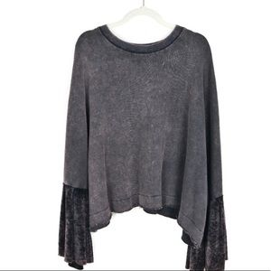 Free People cropped velvet sleeve dolman top